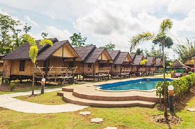Exterior view of Pool and Bungalows of Bull Muay Thai Camp in Krabi Thailand